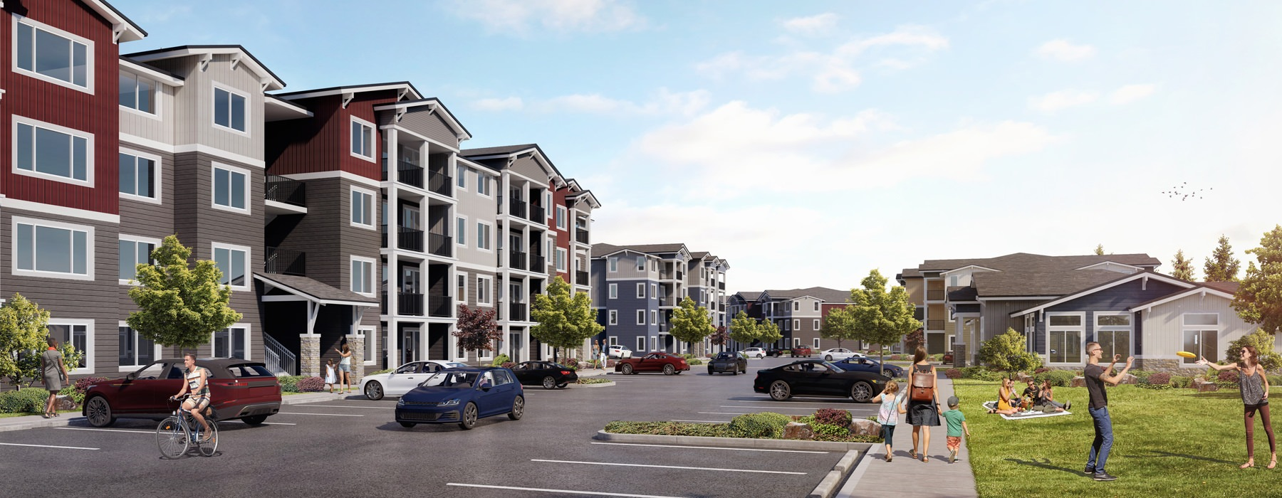 rendering of Park on 20th Apartments exterior and park across the street